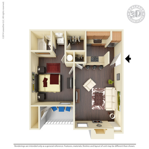 566 sq. ft. A5 floor plan