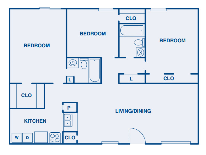 1,365 sq. ft. C floor plan