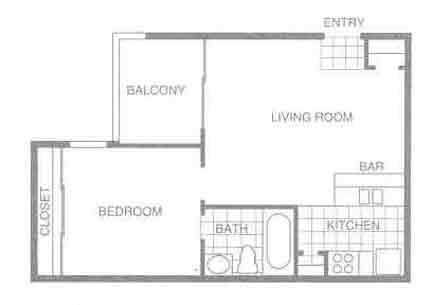 482 sq. ft. E1 floor plan