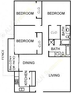 1,282 sq. ft. J floor plan