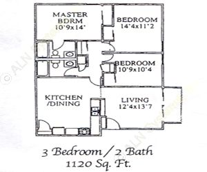 1,120 sq. ft. 60 floor plan