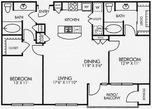 1,048 sq. ft. B1BAL floor plan