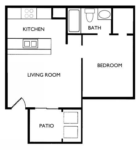 476 sq. ft. A1 floor plan