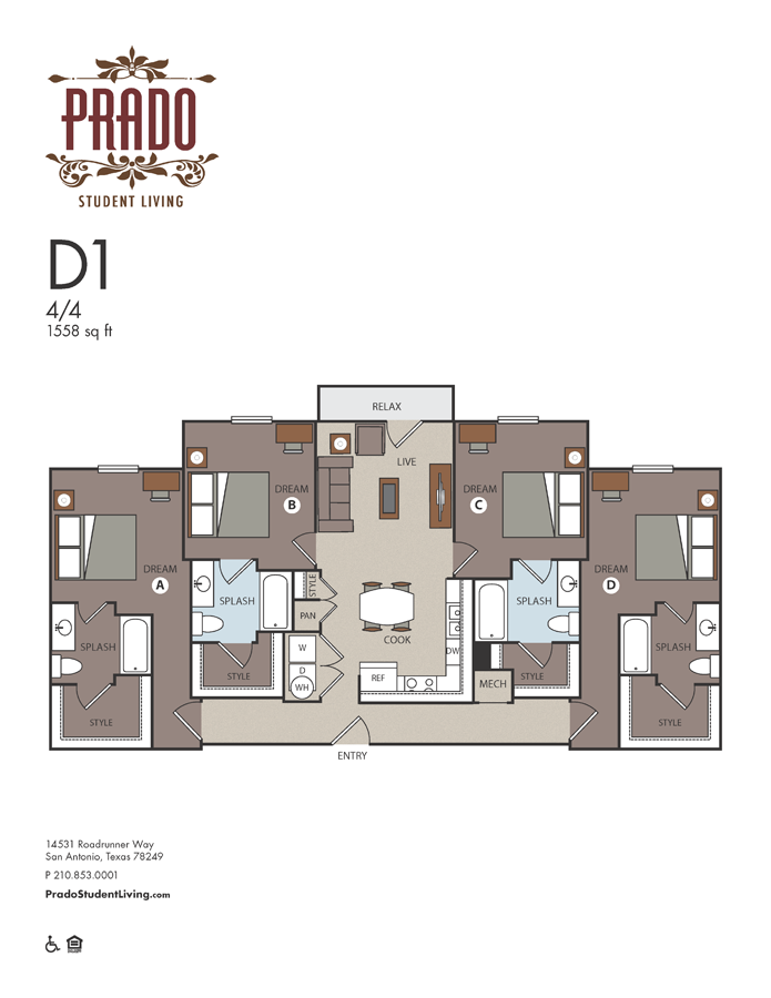 1,558 sq. ft. D1 floor plan
