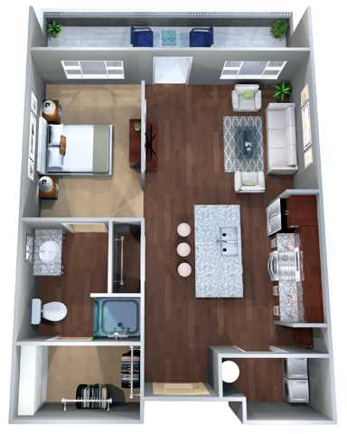 597 sq. ft. Eff B floor plan