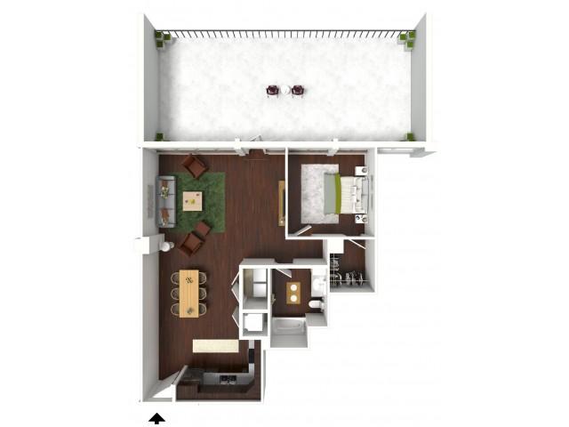 907 sq. ft. Executive Suite floor plan
