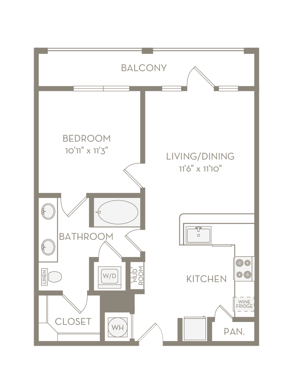 664 sq. ft. A2 floor plan