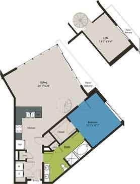 1,195 sq. ft. A4-L1 floor plan