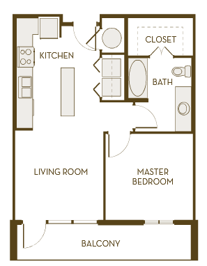 620 sq. ft. A1A floor plan