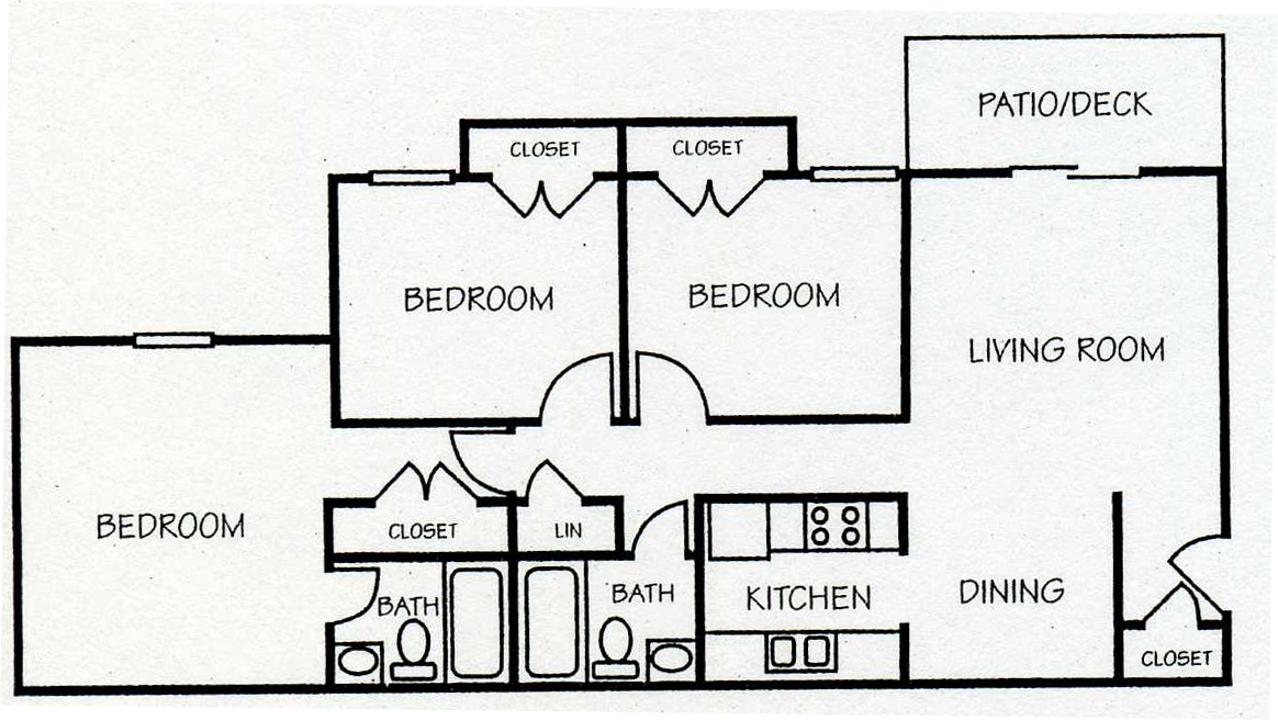 1,032 sq. ft. C-1 floor plan
