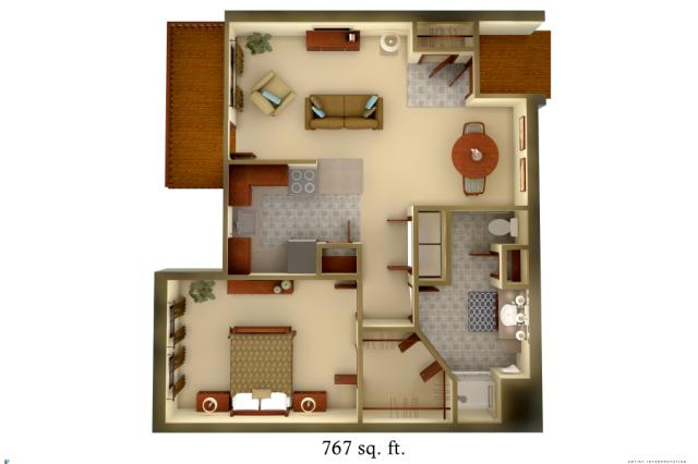 767 sq. ft. A2 floor plan