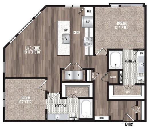 1,142 sq. ft. B2.1 floor plan