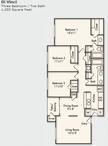 1,253 sq. ft. C-1 floor plan