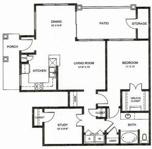 1,078 sq. ft. A3u floor plan