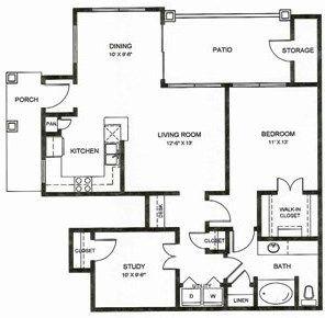 1,078 sq. ft. A3u floor plan