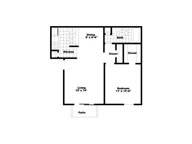 624 sq. ft. to 648 sq. ft. A2 floor plan