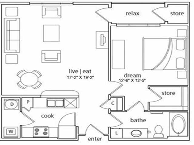 823 sq. ft. Geneva floor plan