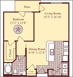 897 sq. ft. A5 floor plan