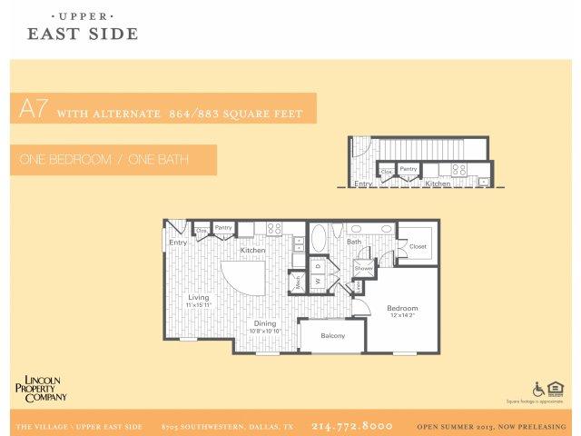 864 sq. ft. A7G floor plan