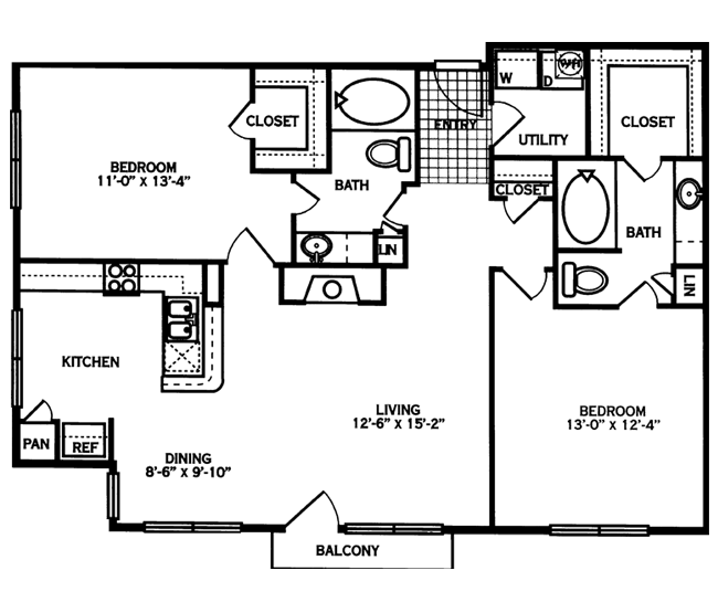 1,122 sq. ft. CALHOUN floor plan