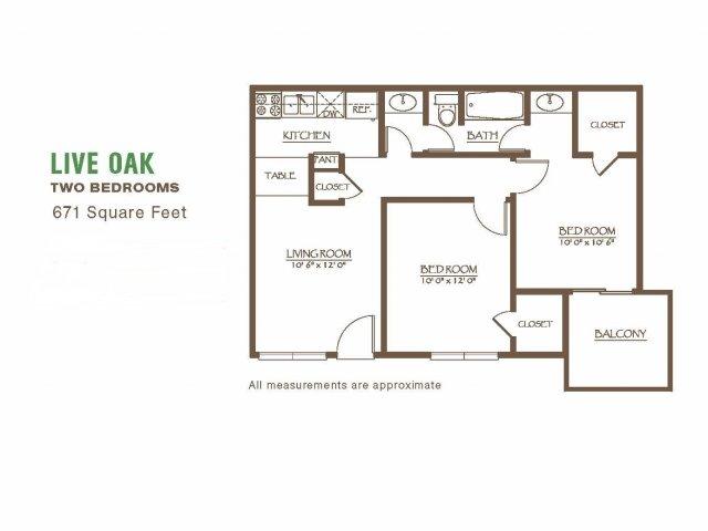 671 sq. ft. floor plan