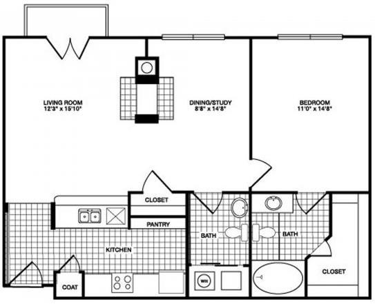 878 sq. ft. floor plan