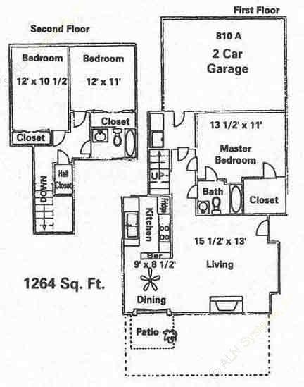 1,264 sq. ft. C2 floor plan