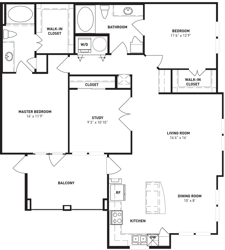 1,368 sq. ft. Pine floor plan