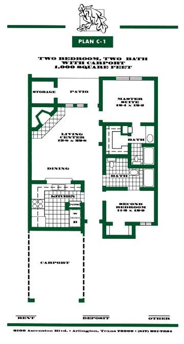 1,000 sq. ft. to 1,032 sq. ft. C1/C2 PH II floor plan