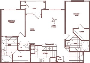 1,129 sq. ft. Water Oak floor plan