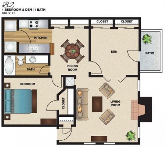 946 sq. ft. B2 floor plan