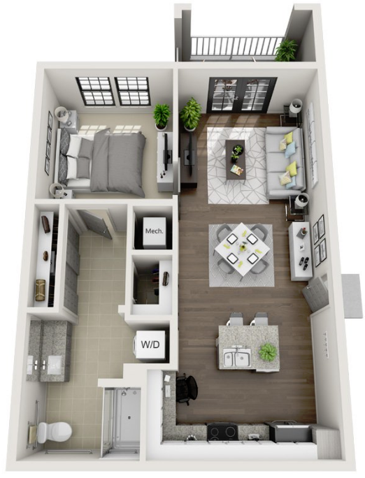 768 sq. ft. A4A floor plan