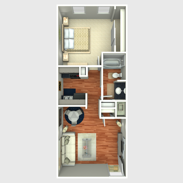 544 sq. ft. A1 floor plan