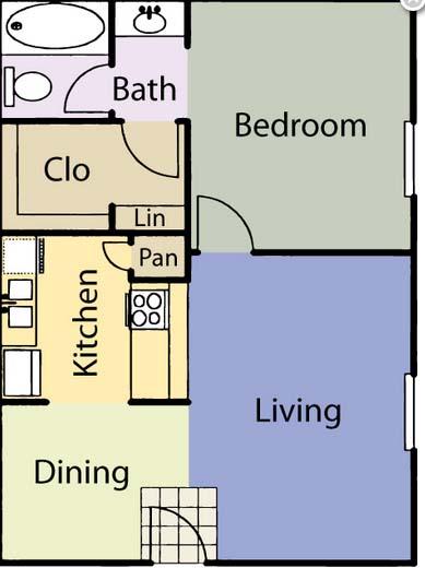 527 sq. ft. A1 floor plan