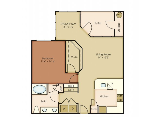 921 sq. ft. A5 floor plan