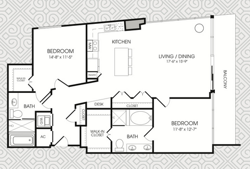 1,357 sq. ft. B9 floor plan