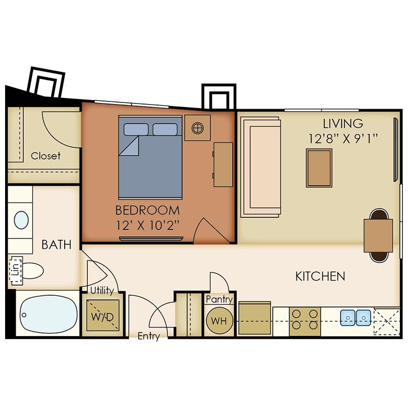 589 sq. ft. A2 floor plan