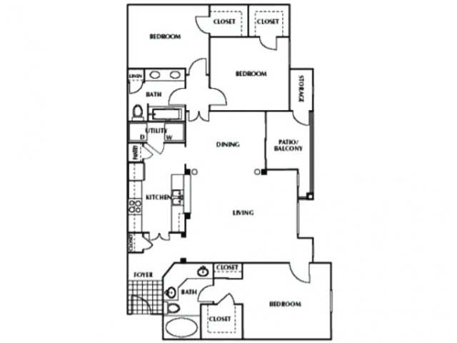 1,386 sq. ft. C floor plan