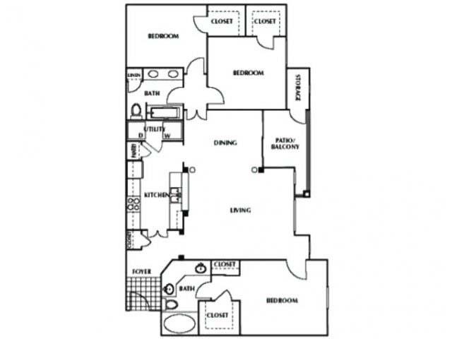 1,386 sq. ft. C floor plan