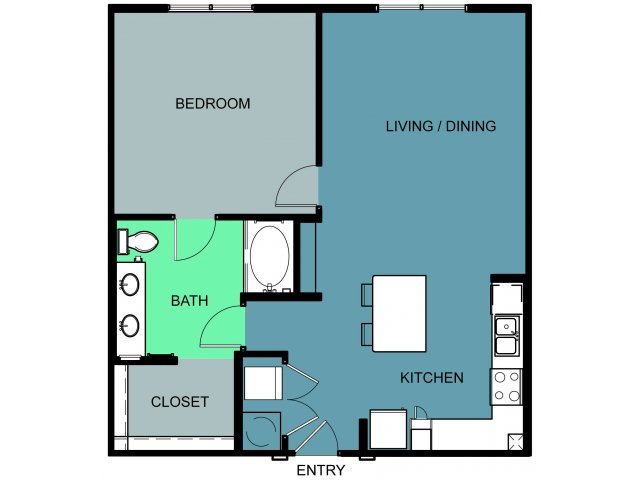 899 sq. ft. Blackstone floor plan