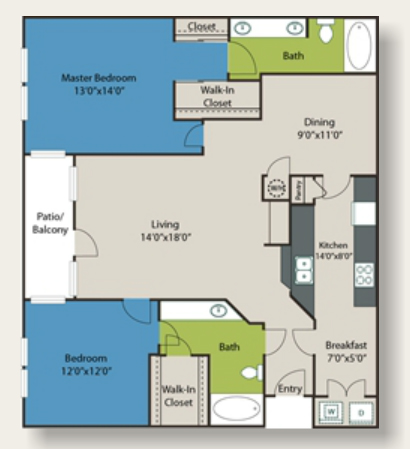 1,351 sq. ft. E1 floor plan