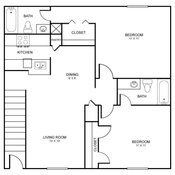 1,045 sq. ft. floor plan