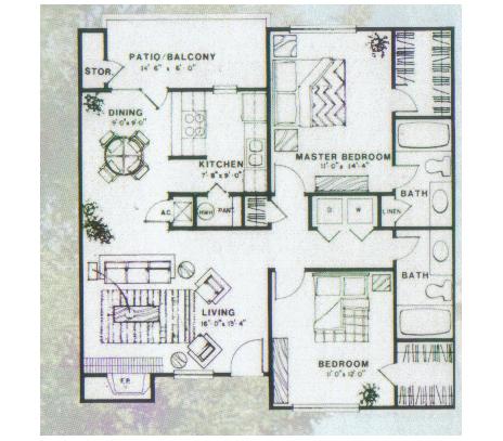 1,014 sq. ft. Ficus floor plan