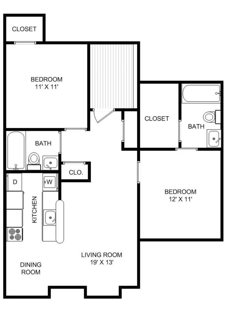 1,042 sq. ft. floor plan