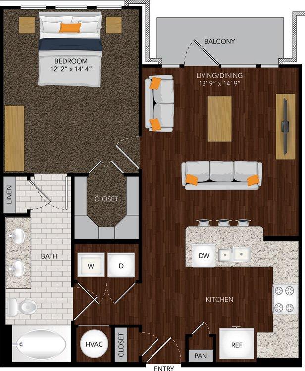 737 sq. ft. A11/A11A floor plan