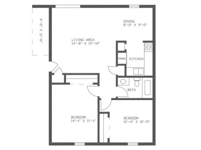 876 sq. ft. Pecan floor plan