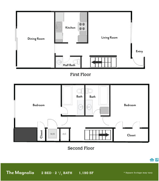 1,190 sq. ft. Magnolia floor plan