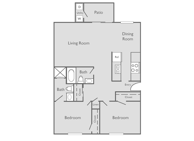 1,000 sq. ft. BOTTECELLI floor plan