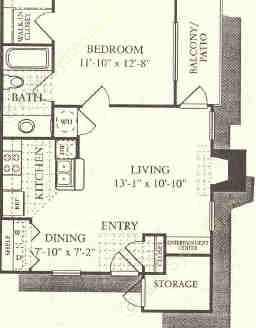 612 sq. ft. Sienna floor plan