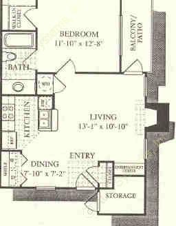 612 sq. ft. Sienna floor plan
